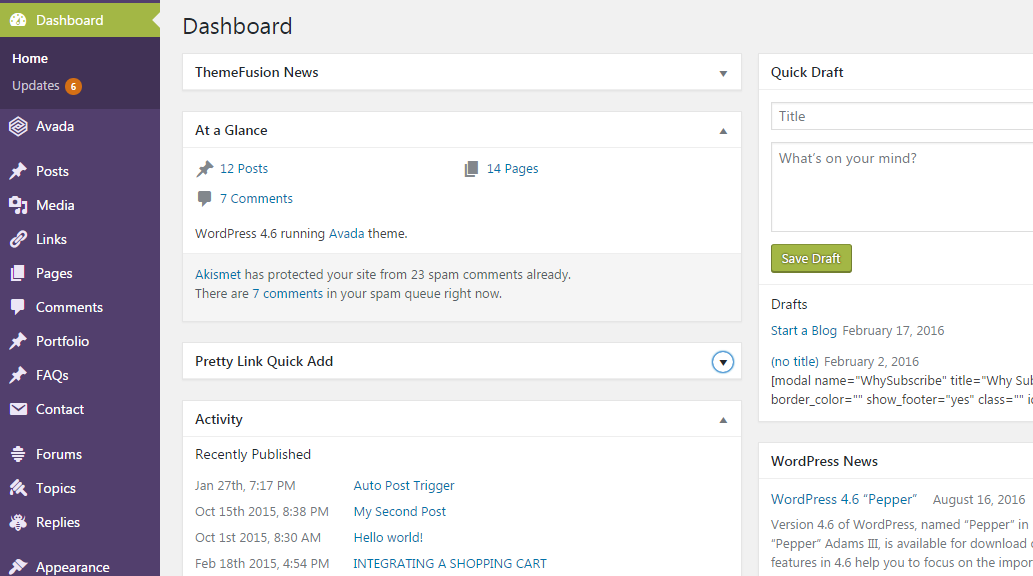 WordPress Dashboard BlogHarp