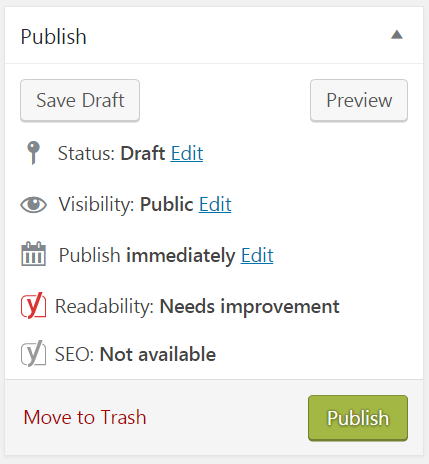 Post publishing options on WordPress
